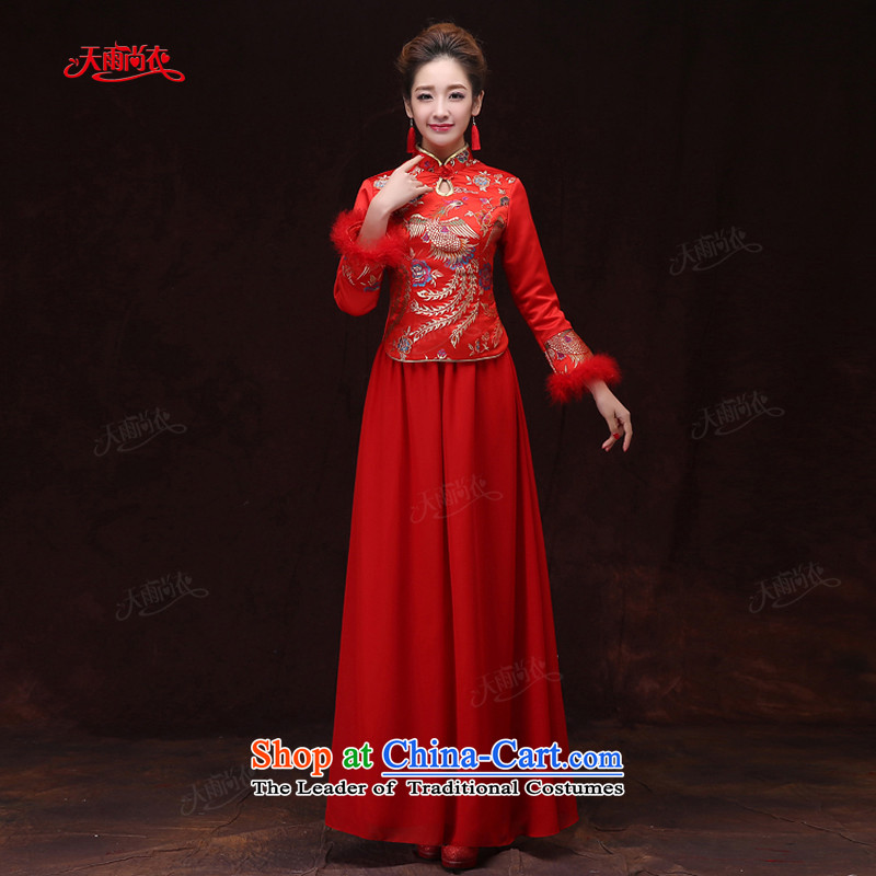 Rain-sang yi 2015 new marriage wedding dresses bride winter clothing long-sleeved long red phoenix embroidered winter women cheongsam QP572 RED燣