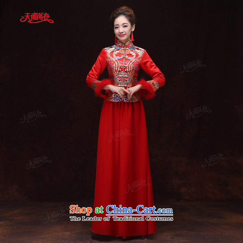 Rain-sang yi 2015 new marriage wedding dresses bows to Chinese wedding bride out hotel long-sleeved red warm in the winter of Qipao QP573 RED S