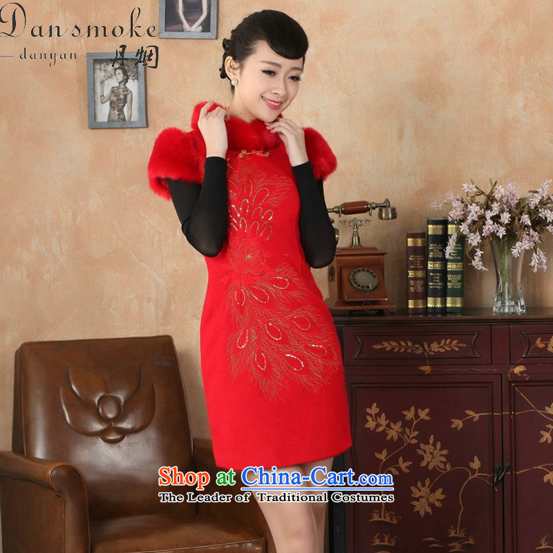 Dan smoke winter clothing cheongsam dress Tang Dynasty Chinese improved gross collar Washable Wool qipao plus COTTON SHORT? qipao gown RED聽M Dan skirt smoke , , , shopping on the Internet