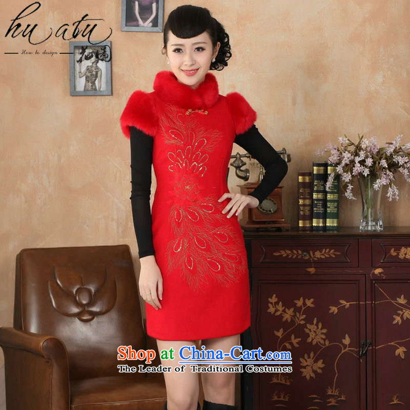 Spend winter clothing qipao figure female Tang Dynasty Chinese improved gross collar Washable Wool qipao plus COTTON SHORT? cheongsam dress dress RED燤