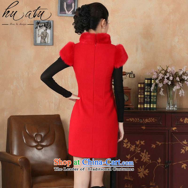 Spend winter clothing qipao figure female Tang Dynasty Chinese improved gross collar Washable Wool qipao plus COTTON SHORT? qipao gown REDM spent skirt figure , , , shopping on the Internet