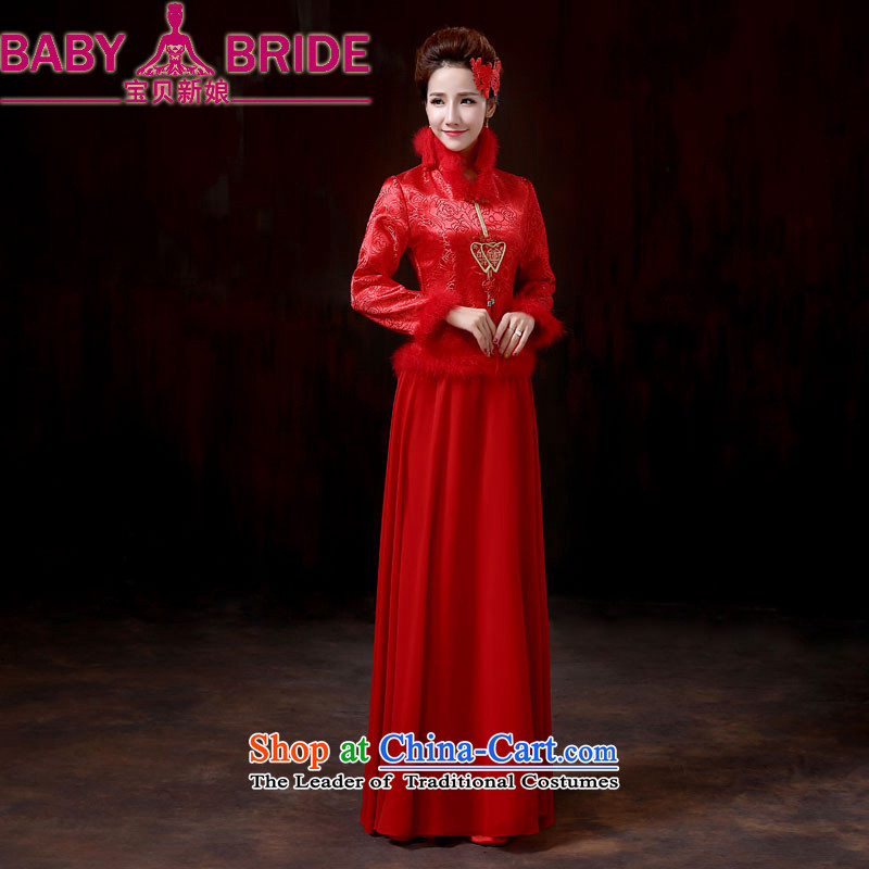 2014 new bride treasure marriages of qipao red warm winter bows dress, cotton long-sleeved late winter load dress?M