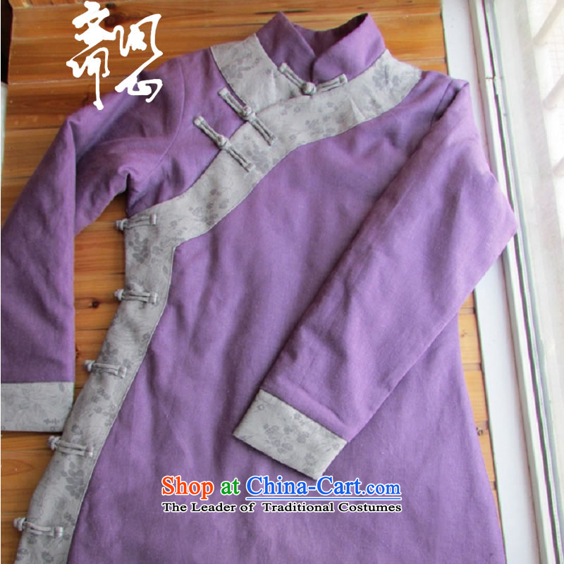 Q Shinsaibashi represented as soon as possible what electoral women fall of Chinese Disc clip cotton jacket qipao improved�1080�purple�L code plain manual 15 day shipping