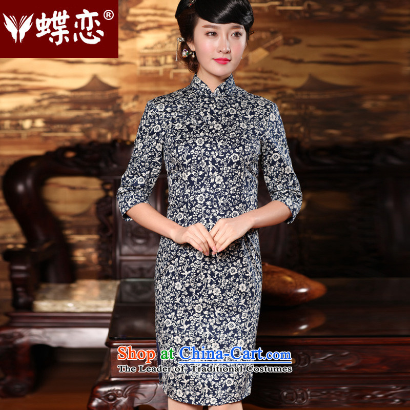 Butterfly Lovers 2015 Autumn new improved_ fashion, cuff cheongsam dress retro temperament Tang dynasty qipao 49146 Navy?  XXL