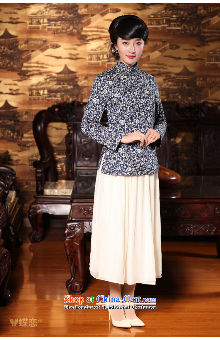 Butterfly Lovers 2015 Autumn new) disk detained Chinese improvements retro qipao shirt China Wind, Tang blouses 49150 navy blue new products for the pre-sale ofS pictures 12.30, prices, brand platters! The elections are supplied in the national character of distribution, so action, buy now enjoy more preferential! As soon as possible.