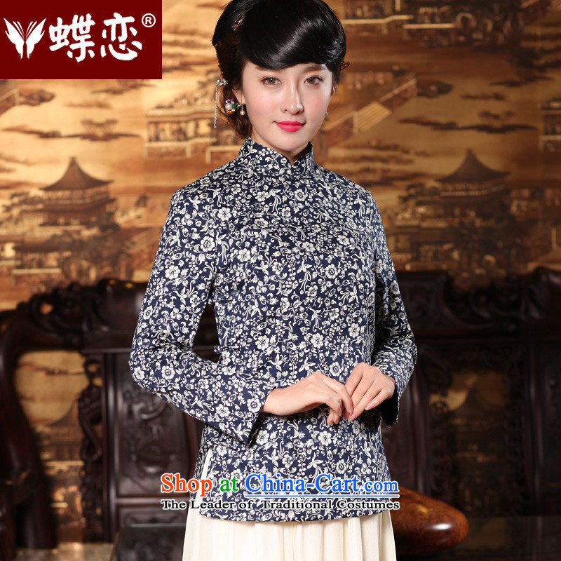 Butterfly Lovers 2015 Autumn new_ disk detained Chinese improvements retro qipao shirt China Wind, Tang blouses 49150 navy blue new products for the pre-sale of聽S 12.30