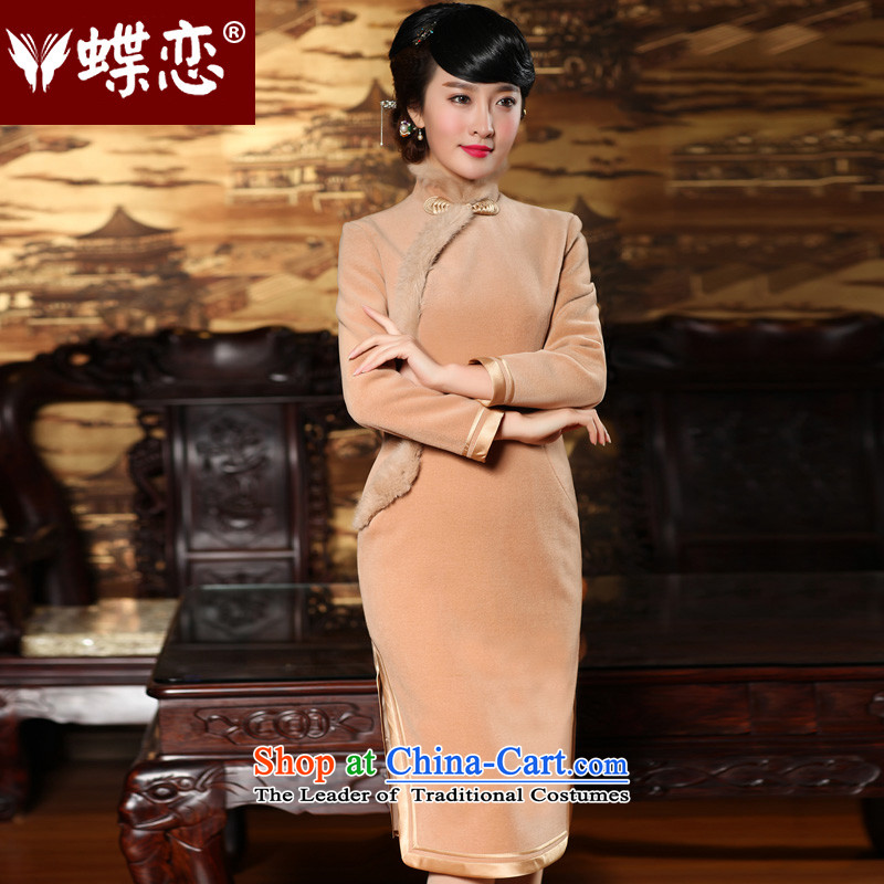 Butterfly Lovers 2015 Autumn new improved long long-sleeved_ wool cheongsam dress 49142 Tulip - pre-sale 7 days XXL