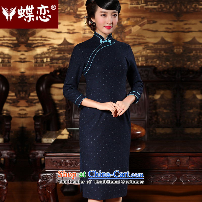 The Butterfly Lovers Winter 2015 Autumn qipao new stylish improved long cheongsam dress butterfly clip retro hair? cheongsam dress 49_43 blue dot燬