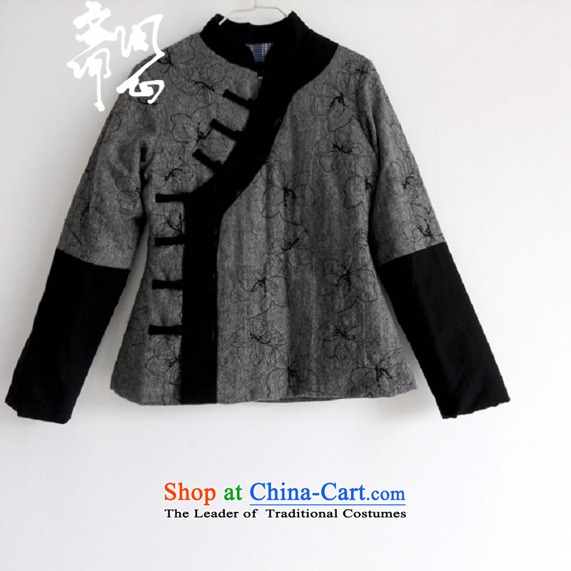Q Shinsaibashi represented as soon as possible what electoral women fall of Chinese ethnic State stitching manually tray clip cotton jacket embroidered linen coat 1079 gray聽S Code聽15 hand-day shipping