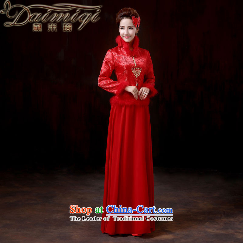 Doi m qi 2014 new marriages of qipao red warm winter bows dress, cotton long-sleeved late winter load dress macrame annual meeting will燤