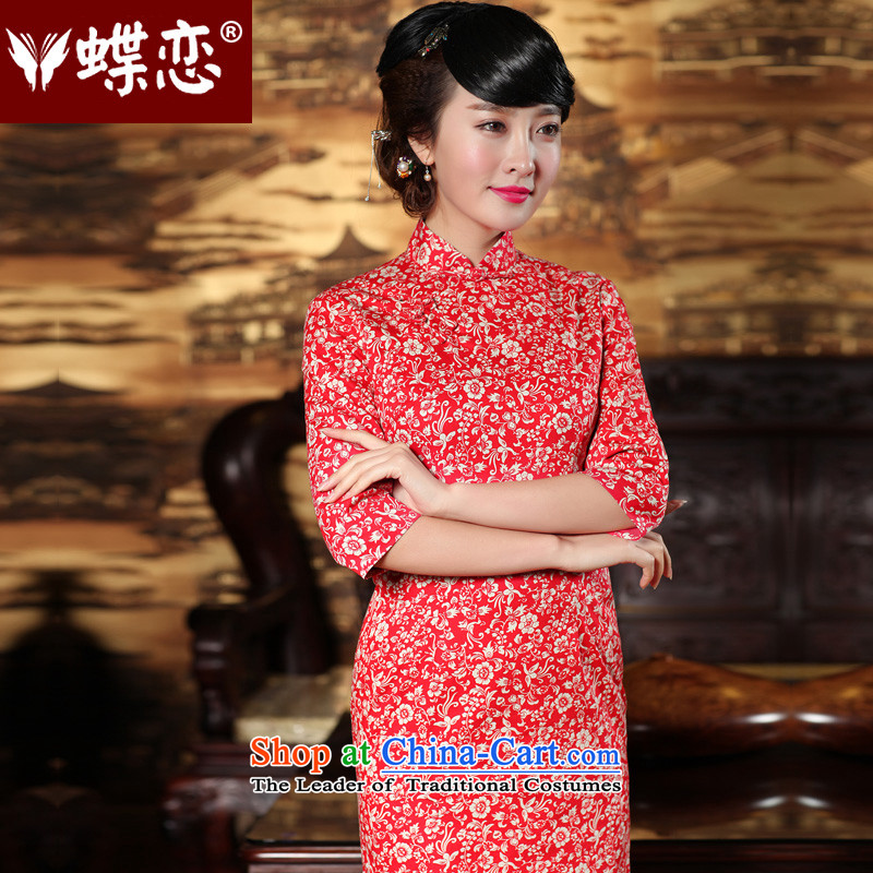 Butterfly Lovers 2015 Autumn new improved_ fashion, cuff cheongsam dress retro temperament qipao 49146 Red燣