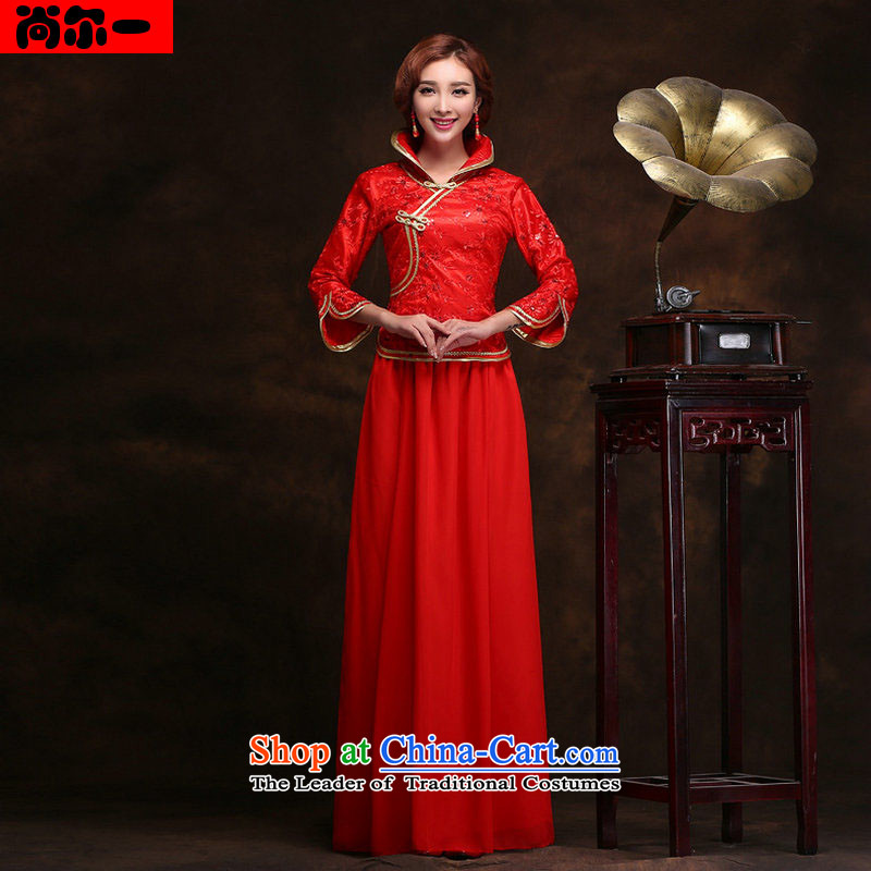 Yet the 2014 New wedding dresses retro improved long red bows to Sau San video thin bride dress temperament gentlewoman bows  yy9410 services red S