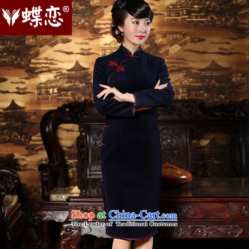 The Butterfly Lovers Spring 2015 new stylish improved wool? cheongsam dress retro long long-sleeved qipao 49156 Navy� M