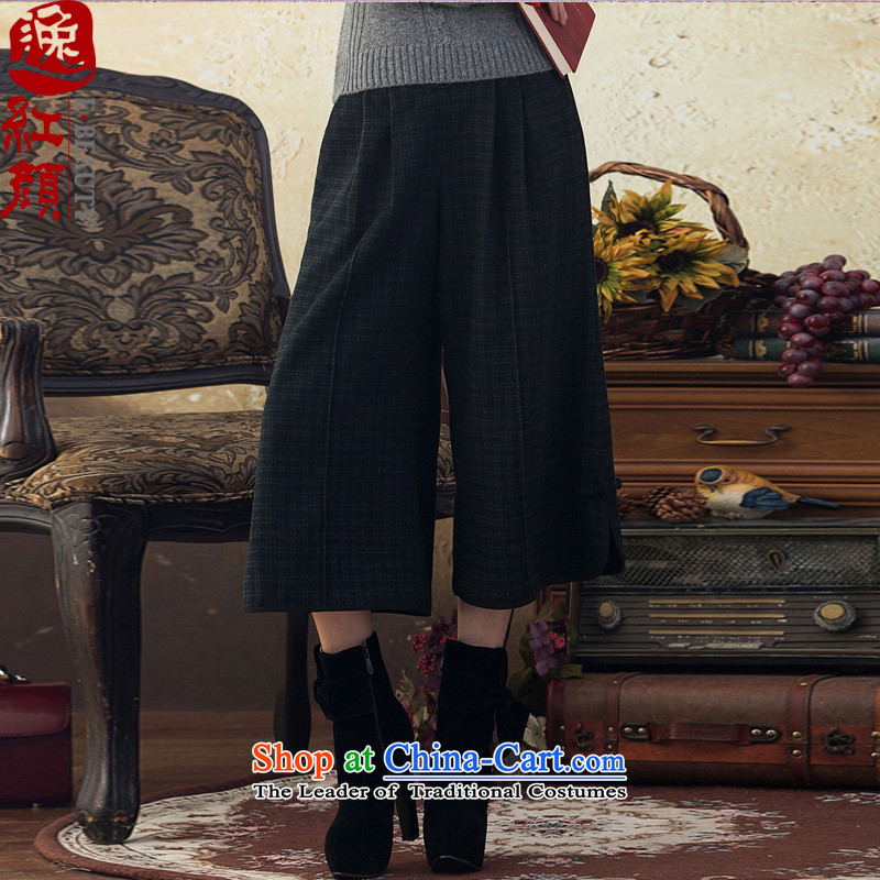 A Pinwheel Without Wind Kam stylish when Yi Tang Dynasty Wool Pants, Skirt autumn and winter trousers of ethnic cultural nostalgia for the wide-legged pants green?M