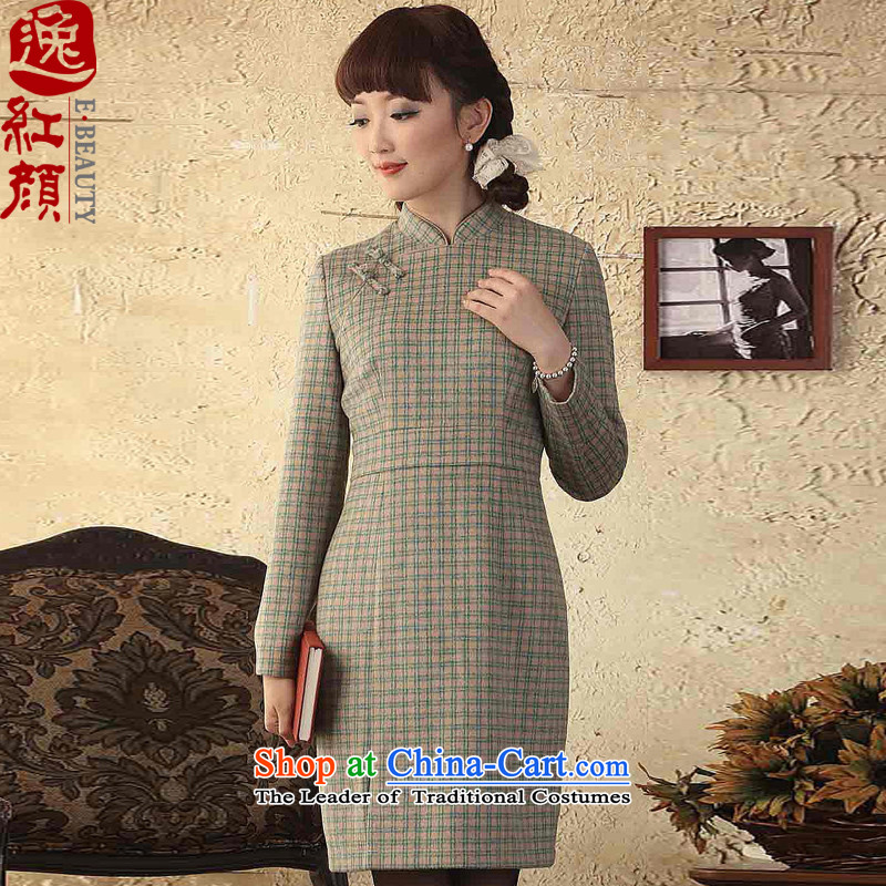 A Pinwheel Without Wind Yat cells wool autumn and winter dresses new gross? dresses long-sleeved Sau San? skirt retro women gross light gray?XL
