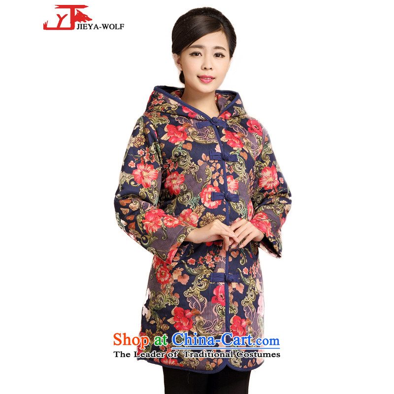 Tang Dynasty JIEYA-WOLF female cotton jacket, autumn and winter fashion, Tang dynasty cotton coat in long urban chic with Cap, Red 1 M