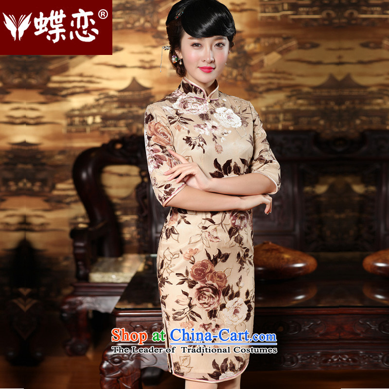 Butterfly Lovers 2015 Autumn new stylish improvement of silk cheongsam dress in sleeve length of nostalgia for the Tang dynasty qipao 49157 figure  XXL