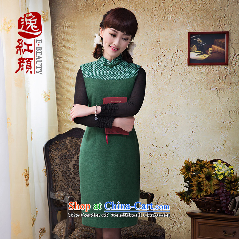 A Pinwheel Without Wind-il Sang-won collar stitching long-sleeved autumn and winter, forming the dresses new stylish Sau San Mao? dresses flowers green?M