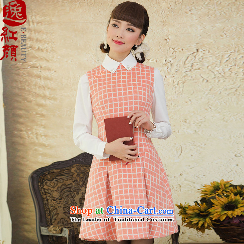 Lady Qin Ge Grid Yat stylish gross? dresses autumn and winter 2015 new women's national Wind Vest skirt pink 2XL