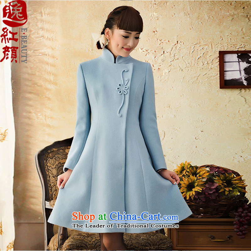 A Pinwheel Without Wind Yat Panzhihua wool long-sleeved jacket for autumn and winter so gross Women 2015. Long stand collar a wool coat Blue�M