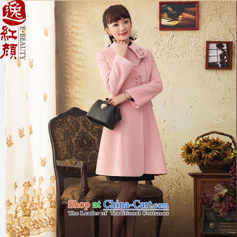 A Pinwheel Without Wind Yat Vickie�15 wool coat in the autumn and winter female long long-sleeved China wind gross pink coat?燲L