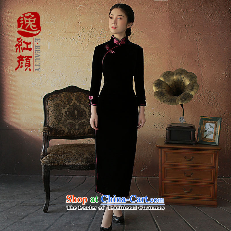 The elections as soon as possible to take advantage of the prevailing breezes flower lady Yat Chu new long-sleeved_ Long Kim scouring pads 7 cuff high qipao the forklift truck Black燲L