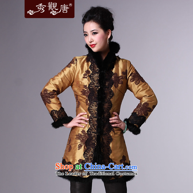 Sau Kwun Tong Xiang Yun Qiankun Tang dynasty women for winter 2014 new mother coat national blouses TM3940 YELLOW?XXXL Jacket