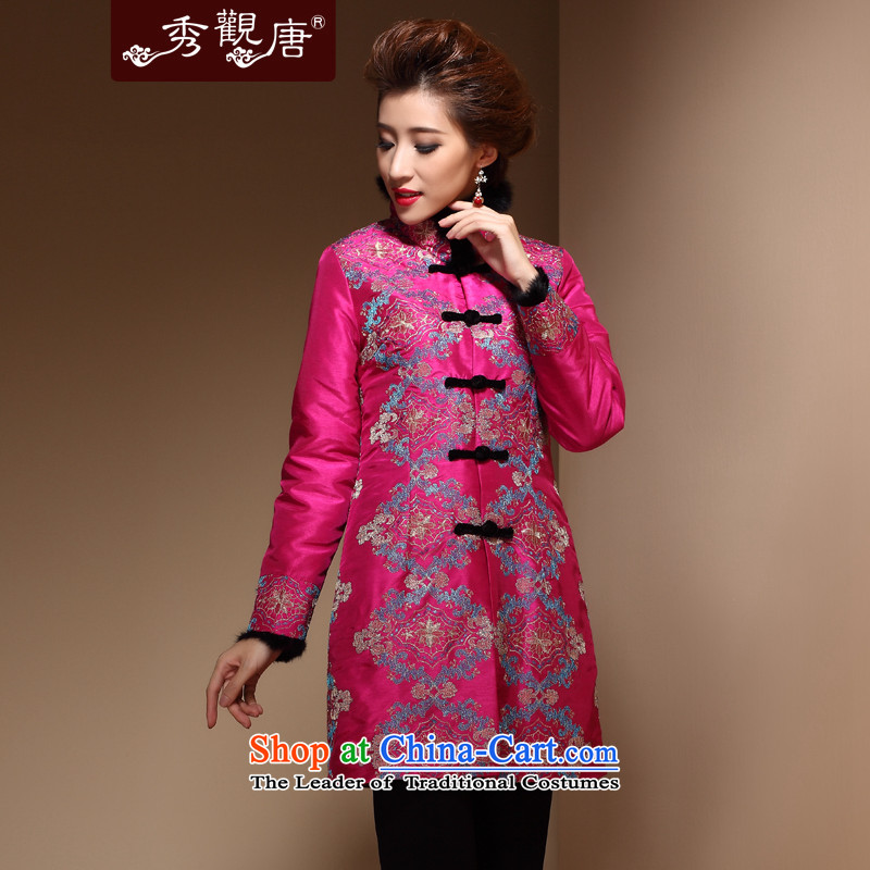 Sau Kwun Tong and glistening Chinese Tang dynasty for gross Ms. Mama Ms. winter clothing cotton robe COAT 2014 NEW TM3934 better red?XXL