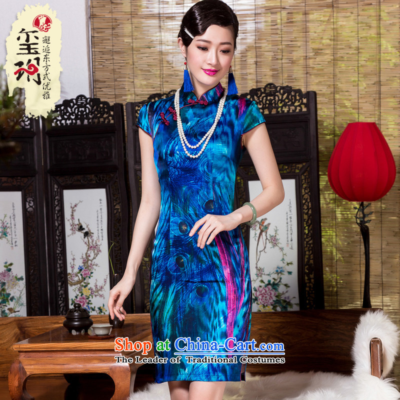 The Seal of autumn and winter, Heavyweight Silk Cheongsam stamp improved retro daily Ms. herbs extract cheongsam dress blue?S