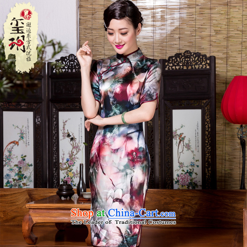 The seal of the爊ew 2015 Silk Cheongsam aristocratic daily improved annual corporate banquet retro elegant qipao skirt suits燬