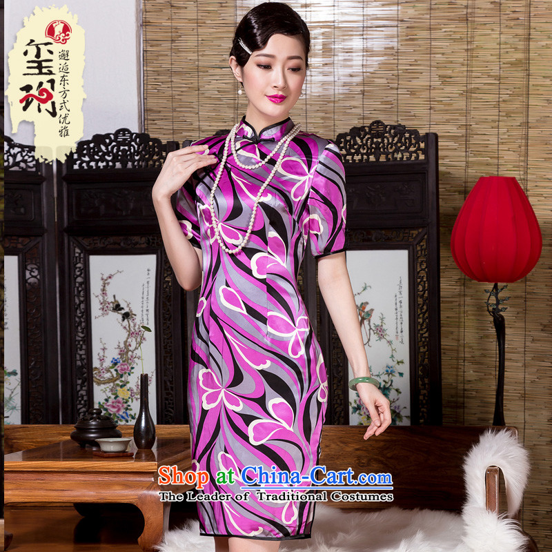 燭he autumn 2015 decreased by NARS heavyweight Silk Cheongsam elegant in-the-know retro improvement cuff abstract cheongsam dress color picture stamp燤
