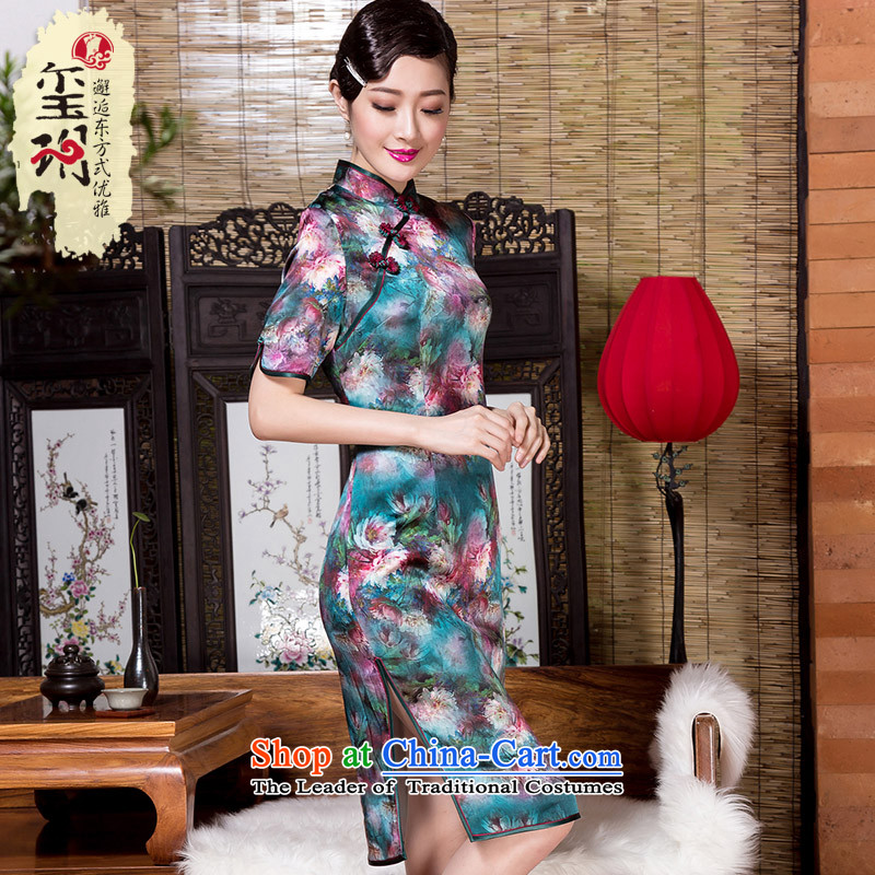 The seal of the燼utumn and winter 2015 new heavyweight Silk Cheongsam art stamp improvements banquet Ms. everyday dress picture color燬 Cheongsam
