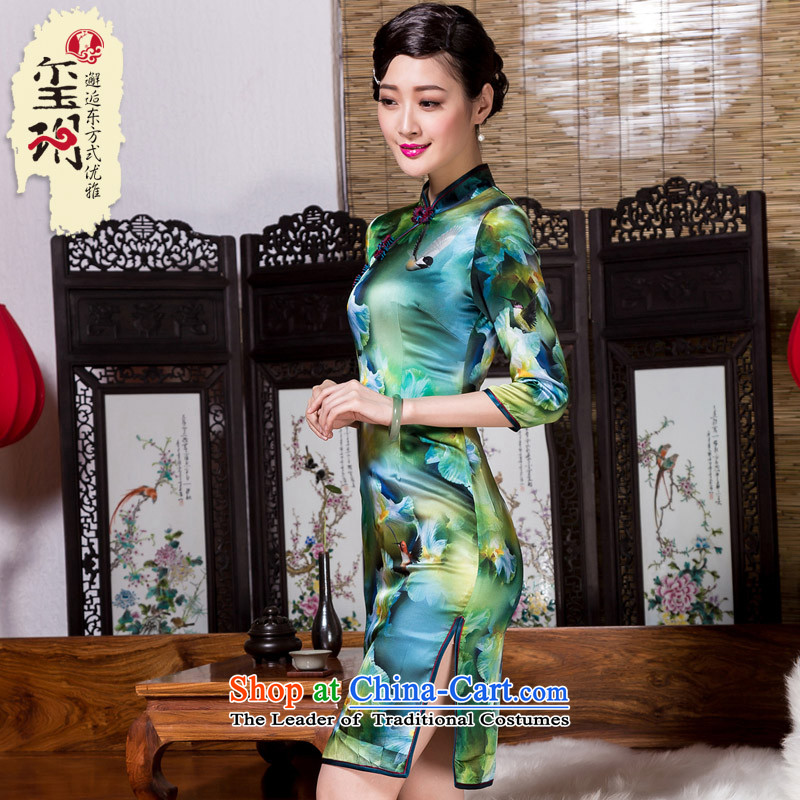 Seal of new autumn 2015 7 cuff, cuff heavyweight Silk Cheongsam annual routine banquet improved picture color?S Cheongsam
