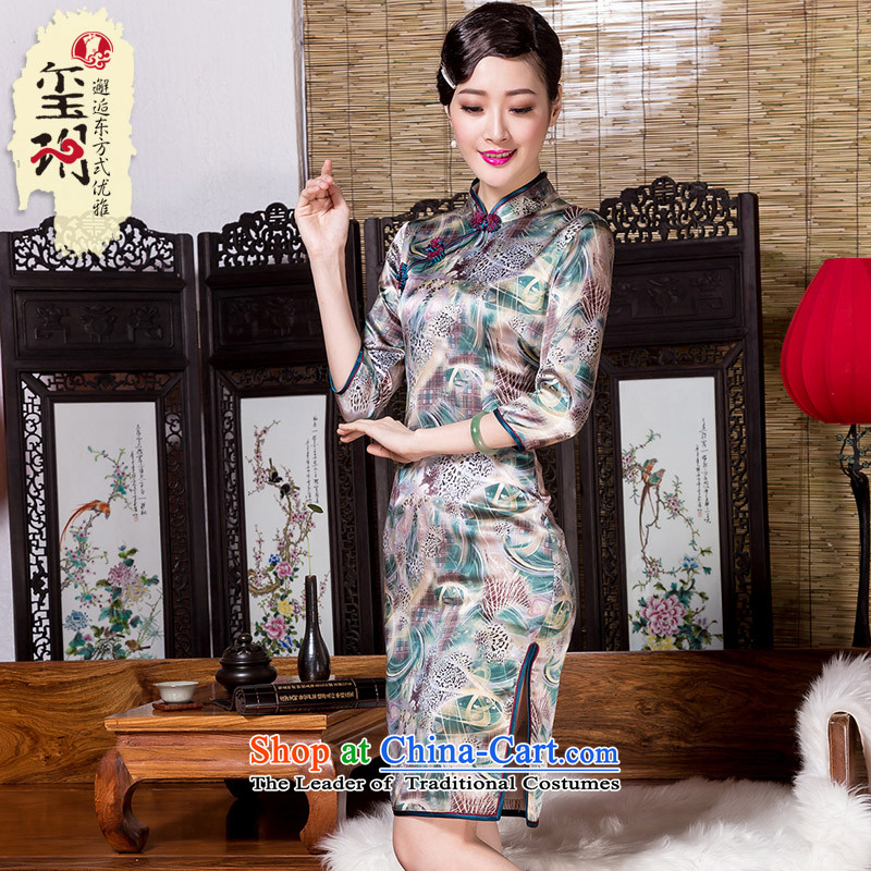 Seal of�14 heavyweight silk in 7 Cuff Silk Cheongsam Shanghai republic of korea wind, herbs extract pictures qipao color燬