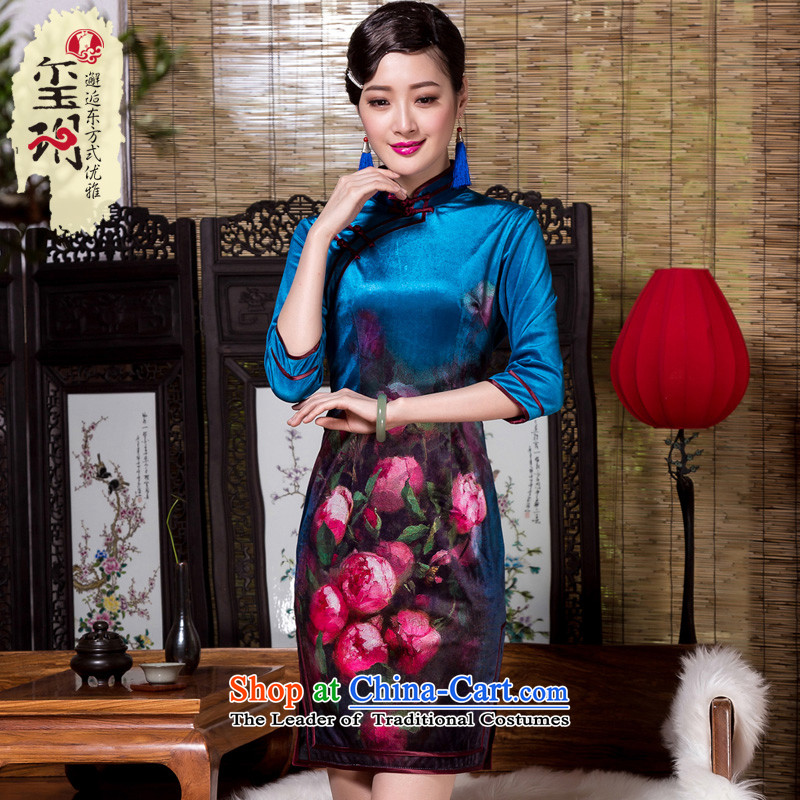 The Seal of?2015 autumn and winter flower elegant qipao positioning wool high-end in the seven female improved cuff is traversed by the picture color qipao?XL