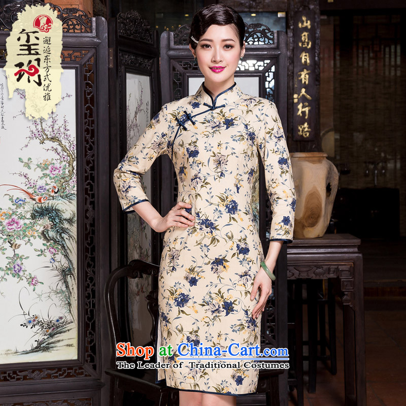 The seal of the autumn and winter 2015 new cotton linen floral arts cheongsam 7 cuff improved daily qipao skirt picture color Ms.燲L
