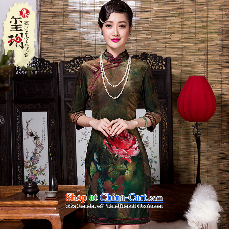 The seal of the autumn and winter 2015 new stamp elegant qipao positioning velvet retro look, Ms. improved cheongsam dress photo color?XL