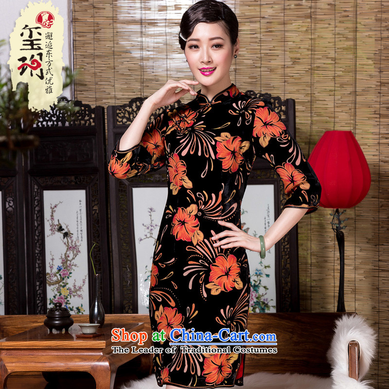 The seal of the?autumn and winter 2015 new retro ethnic 7 Cuff Silk Cheongsam burned lint-free daily color picture enhancement of elegant?M