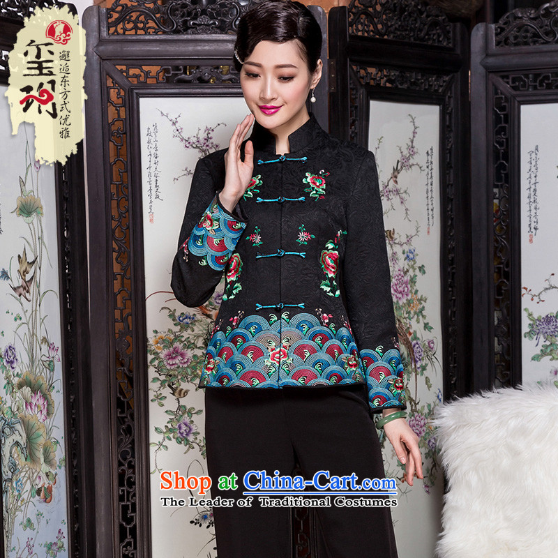 The seal of the autumn and winter 2015 new national commuter middle-aged Tang dynasty heavy industry embroidery Chinese blouses jacket Black XL