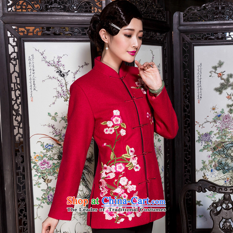 The Seal of 2015 winter embroidery Tang blouses, older women's mother retro national wind jacket gross large red?L?
