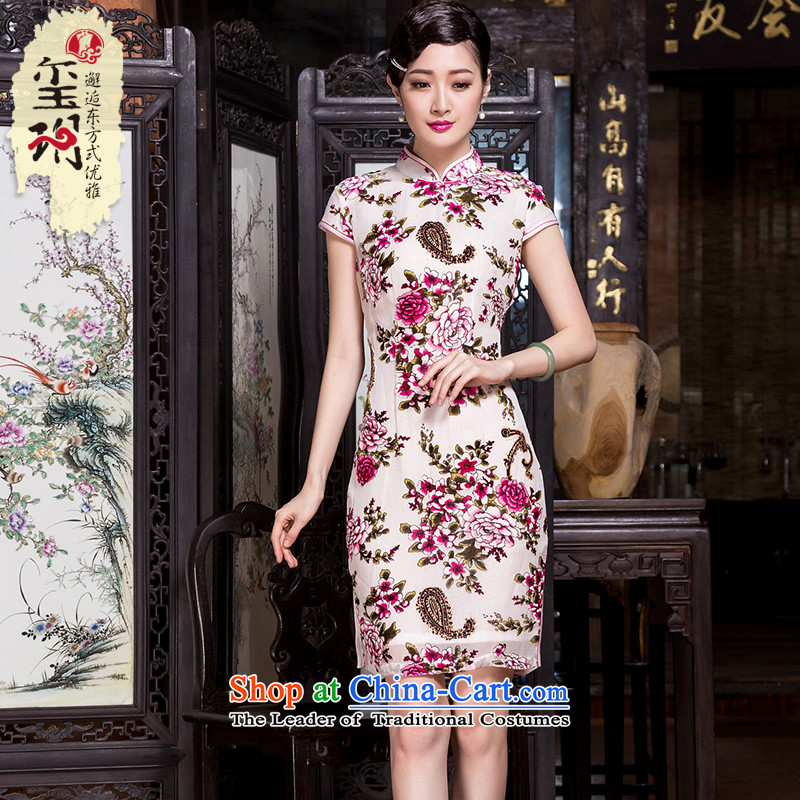 Seal spring and autumn 2015 decreased by new Silk burned lint-free retro qipao fashion, Ms. Short-sleeved long skirt picture color?M Cheongsam