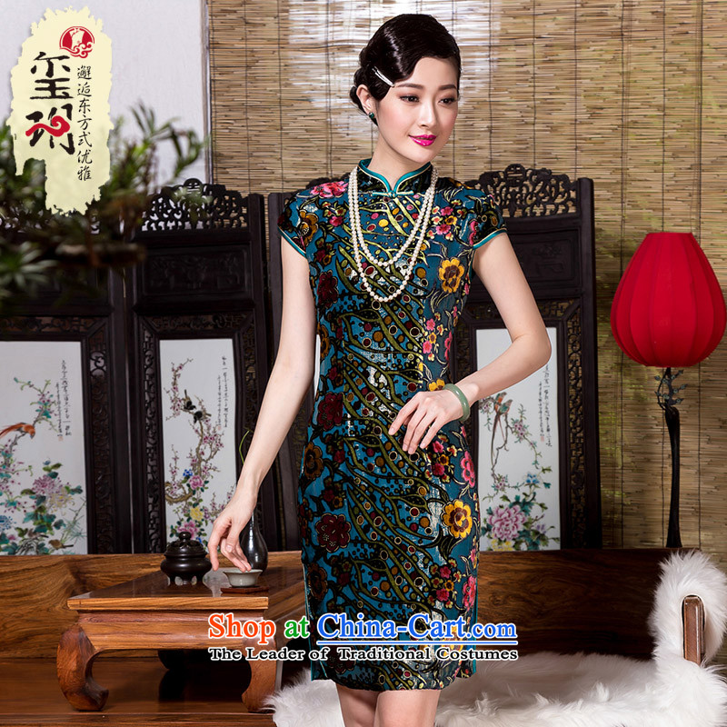 Seal of爊ew Fall 2015 retro ethnic cheongsam dress Ms. silk burned down improved color picture skirt qipao燲XL