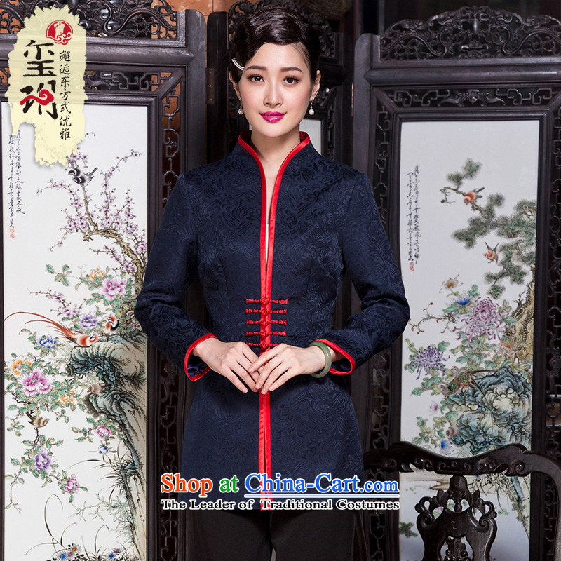 Seal of autumn and winter 2014 jacquard tray clip retro Tang dynasty ethnic shirt temperament middle-aged female mother coat blue�S
