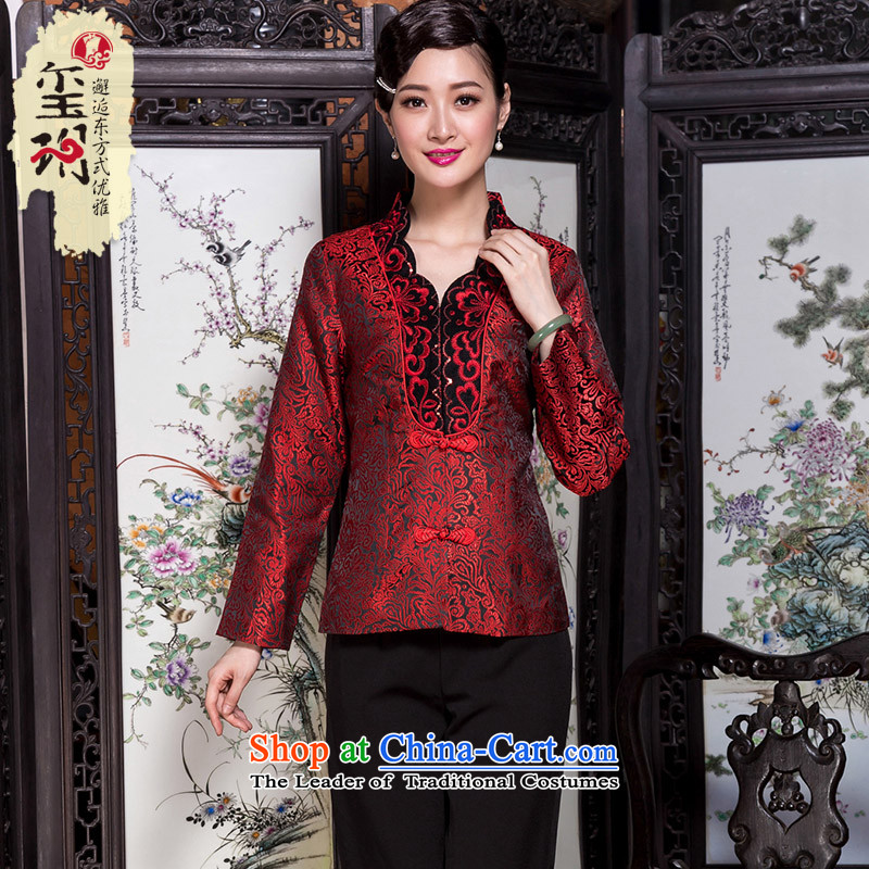 The Seal of?2015 autumn and winter ethnic Tang blouses middle-aged moms with Han-jacket Ms. wedding clothes red?L