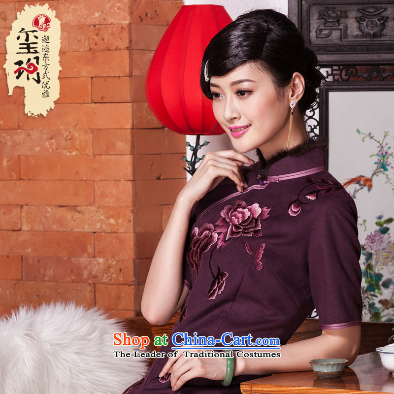 The seal of the?Winter 2015 New banquet embroidery high-end cheongsam look elegant improvement by Ms. cuff cheongsam dress dark red?XL