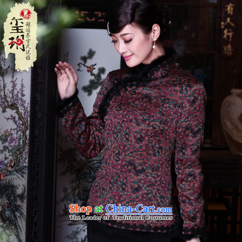 The seal of the Winter 2015 new ethnic Tang dynasty long-sleeved warm silk floral cotton shirt disc folder qipao deduction picture color燬