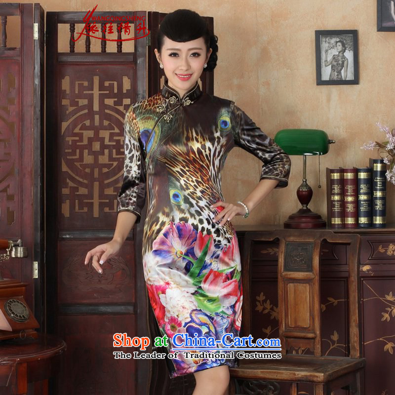 In accordance with the Love l spring and fall new women's dresses ethnic Kim scouring pads poster Sau San 7 cuff cheongsam dress figure?S