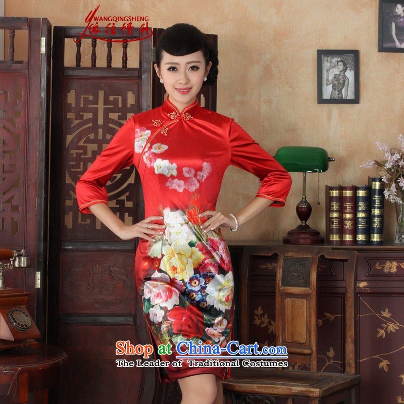In accordance with the love spring and autumn new women's l replacing qipao ethnic Kim scouring pads poster Sau San 7 cuff cheongsam dress ancient /TD0033# figure?S