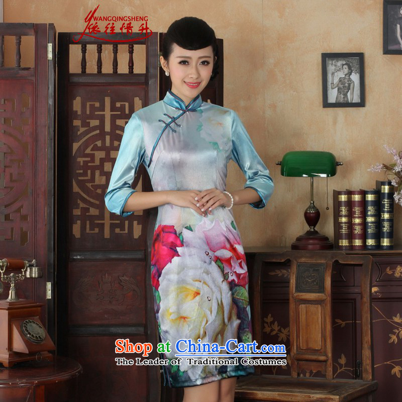 In accordance with the Love l autumn and winter new women's national wind poster Kim scouring pads Sau San 7 cuff qipao skirt figure燣