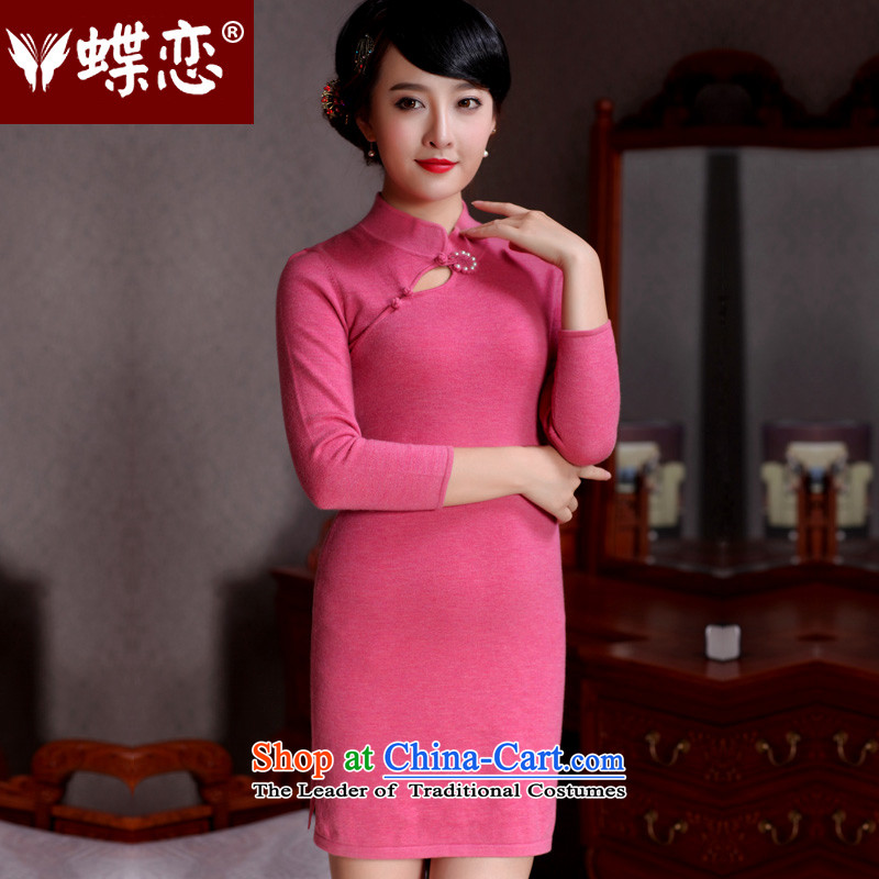 Butterfly Lovers 2015 Autumn new stylish temperament pure, improved wool cheongsam dress 49093 figure? XL